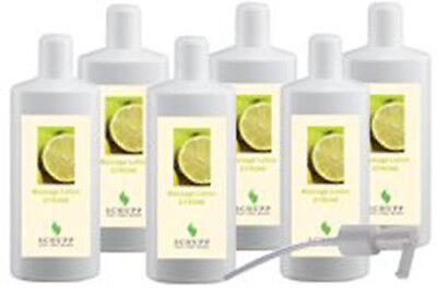 Schupp Massagelotion - Zitrone - 6 x 1 Liter incl 1x Dosierspender