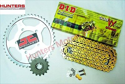 Honda VFR800 Fi 1999 Model DID Gold X-Ring Chain & JT Sprockets Kit Set