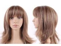 Ladies Caramel Brown Tones Highlighted Wispy Bangs Cut Shoulder Length Wig.