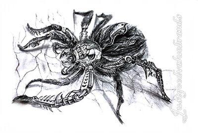 Halloween Scary Robotic Mechanic Crawling Spider Tarantula Temporary Tattoo