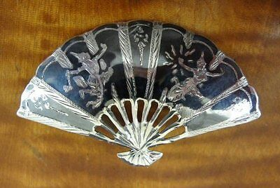 Vintage Large SIAM Fan Shape Sterling Silver 925 BROOCH Pin for sale  Shipping to Canada