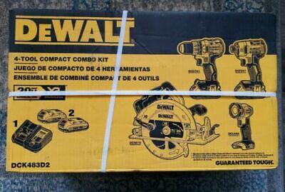 Dewalt Dck483d2 20v Max Xr Brushless Combo Kit Compact 4-tool Nib