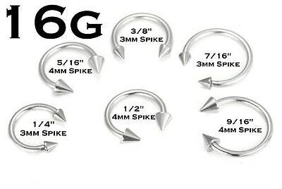 - 16G 316L Steel Spike Silver Horseshoe Ear Septum Tragus Labret Monroe Lip Nipple