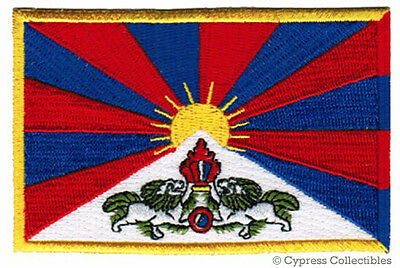 TIBET FLAG embroidered iron-on PATCH TIBETAN EMBLEM CHINA REGION DALAI LAMA new
