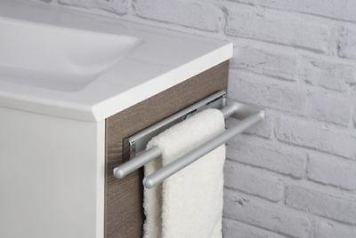 Silber Bad Möbel (Handtuchhalter 2-armig ausziehbar für Badmöbel / Küche ALU silber matt)
