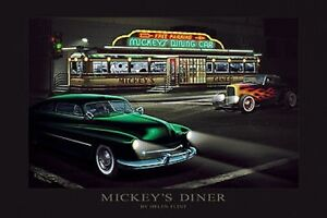 Mickey's Diner Helen Flint old dining car art print 24x36 poster parked flames
