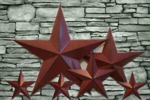 Burgundy country barn stars set of 6