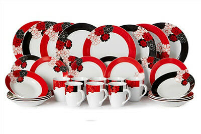 32 pc Red White Black Dinner Set Service Crockery Porcelain Round