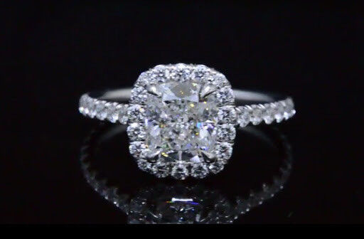 1.70 Ct Halo Cushion Cut Diamond Engagement Ring F,VS1 GIA  Prong & U-Setting