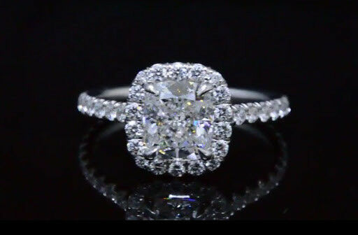 2.70 Ct Cushion Cut Diamond Halo Round Cut Engagement Ring H,IF GIA Gold or Plat