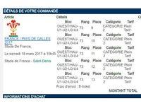 France v Wales 6 nations ticket