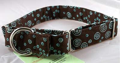 Brown Teal Swirl designer dog collar, martingale with leash set - Designer Dog Collar Martingale