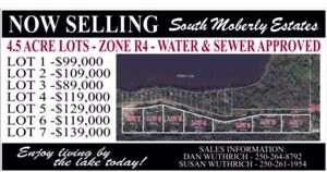 NEW 4.5 Acre Lots by Moberly Lake