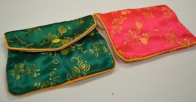 Silk Jewelry Chinese Pouch Bag Roll Assorted Four Dozen Zipper - 4 12 X 3 12