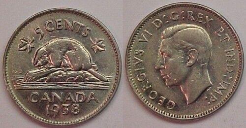 1938 Canadian Nickel Canada Five Cents AU