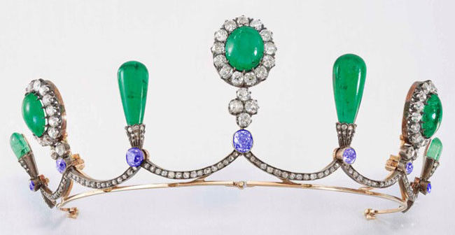 8.40ct Rose Cut Diamond Antique Look 925 Silver Emerald Sapphire Gemstone Tiara