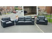 3,1,1 black leather sofa £350 delivered