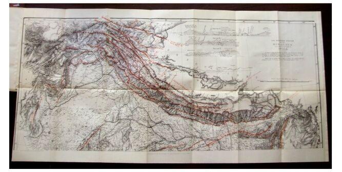 1884 Godwin Austen - HIMALAYAN MOUNTAIN RANGES - LARGE COLOR MAP - 2