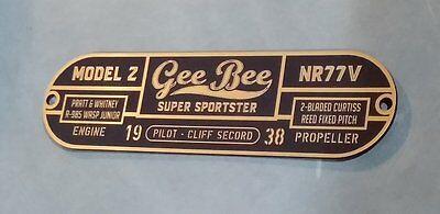 Rocketeer Gee Bee Serial Data Plate Prop Airplane Z Air Races