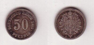 50 Pfennig Silber Münze Deutsches Reich 1876 A  (115554)