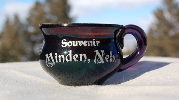 Original antique MINDEN NEBRASKA souvenir mini CHAMBER POT Purple Ruby glass