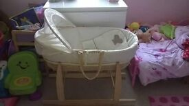 Mosses basket, rocking stand, mattress, bottom sheets and cover