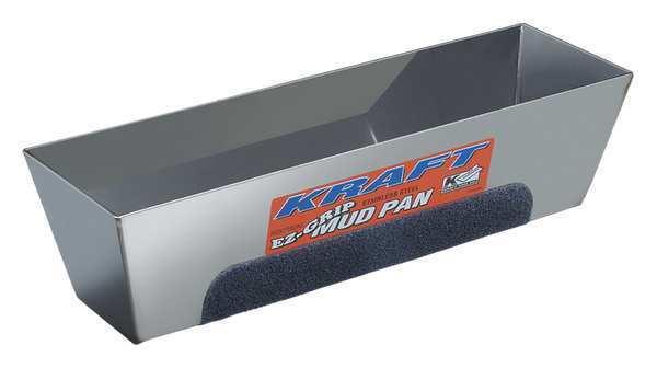 KRAFT TOOL DW722 Mud Pan,EZ-Grip,12in.,Stainless Steel