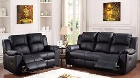 BRAND NEW LAZYBOY RECLINER 3+2 SOFA BLACK OR CHOCOLATE BROWN + DELIVERY