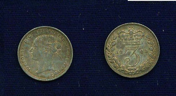 G.B./U.K./ENGLAND  VICTORIA  1884  3 PENCE SILVER COIN  XF+