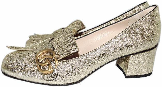 Gucci Gold Foil Block Heel Pumps GG Marmont Kilties Shoes 395