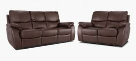 JOHN LEWIS BROWN LEATHER ELECTRONIC COUCHES