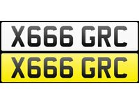 Private plate for sale X666 GRC