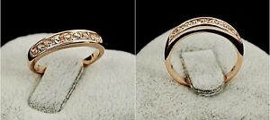 18K White / Rose Gold GP Classic Wedding Engagement Ring With SWAROVSKI Crystal