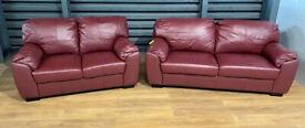 New Unused Genuine Leather 3 & 2 Seater Sofas - Burgundy.