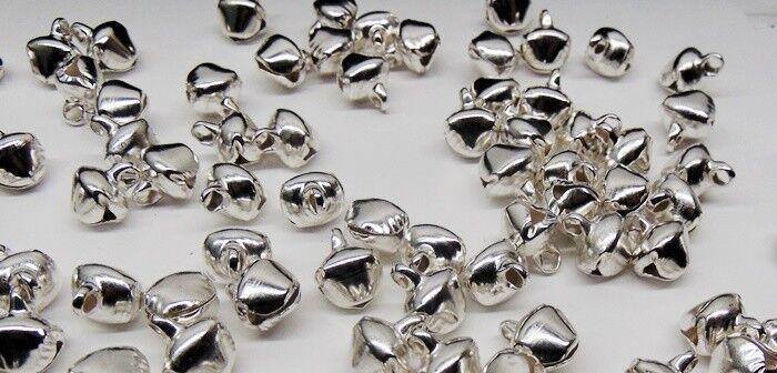 LOT 500 SILVER JINGLE BELLS  Metal Craft Beads Charms 10-12mm w/ Loop