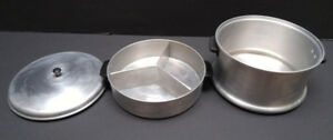 Stainless steel, enamelware, extra-heavy waterless aluminum pots