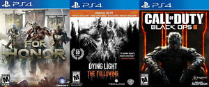 Selling/Trading PS4 For Honor, Dying Light, Black Ops 3