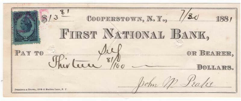 1881 Check, FIRST NATIONAL BANK, Cooperstown, New York