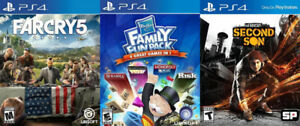 Selling/Trading PS4 Farcry 5, Infamous, Family Fun Pack