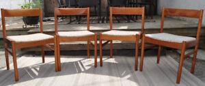 4 Mid Century Modern Teak chairs