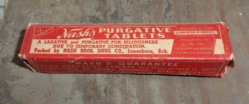 ARKANSAS DRUG STORE BOTTLE-Nash Bros.-Jonesboro-Box-Contents-Label-1900s