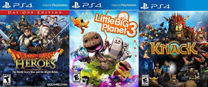 Selling/Trading PS4 Knack, Little Big Planet 3, Dragon Quest