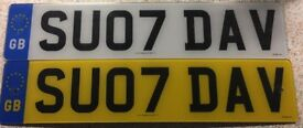 Private number plate sue & Dave David with set of eu plates