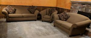 beige couch, loveseat, & chair