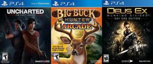 Selling/Trading PS4 Uncharted, Big Buck Hunter Arcade, Deus Ex