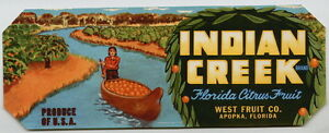 INDIAN-CREEK-Vintage-Apopka-Florida-Citrus-Crate-Label-Groves-AN-ORIGINAL-LABEL