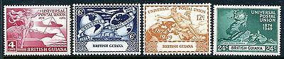 British Guiana 246 249  Mh  Upu 75 1949 Plane Ship Hemisphere Globe   X23080