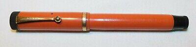 RARE old Parker Duo Fold Lucky Curve Orange Fountain Pen