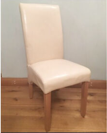 4 Cream (Bonded Leather) Dining Chairs