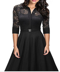Black Retro Style Casual Lace Dress (medium)